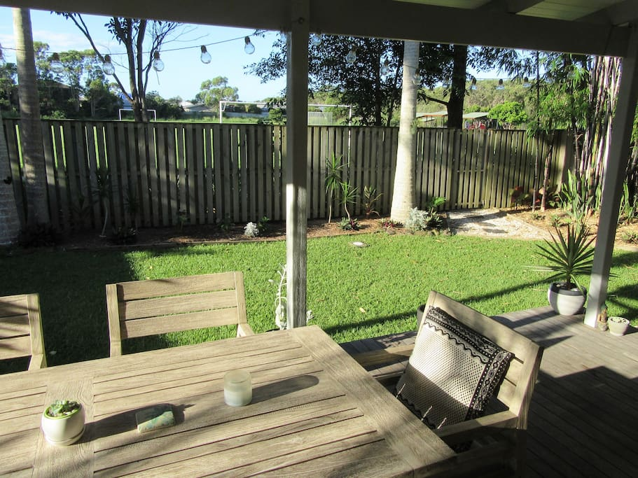 The north facing back deck is perfect for lazy days