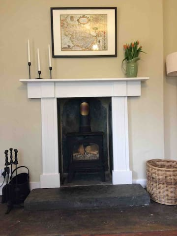 Wood burner in the living room, fire ready to light
