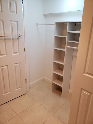 Three spacious closets for storing all of your travel gear.