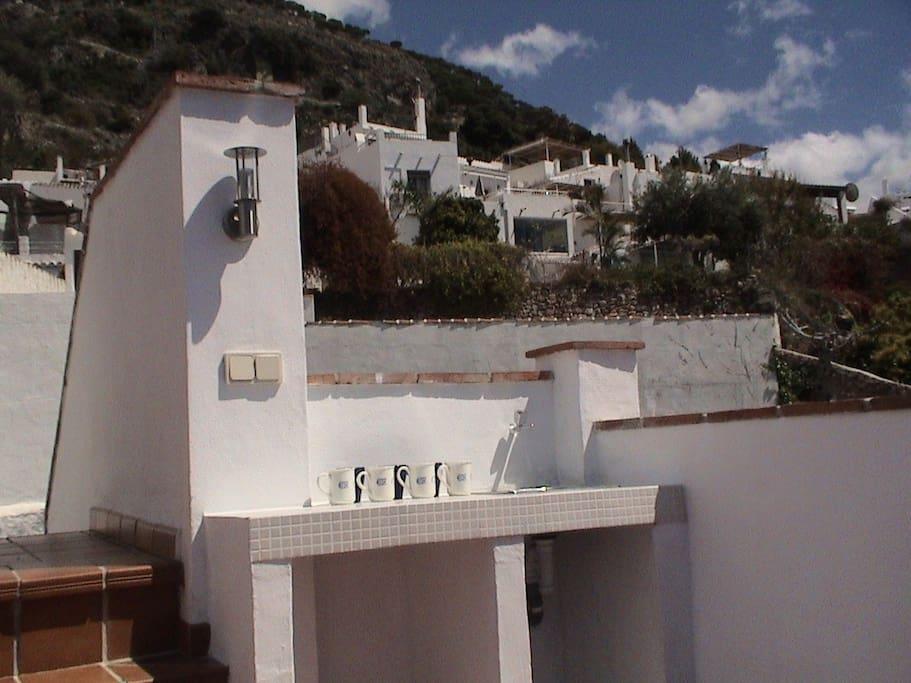 terraza con vistas y barbacoa