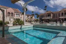 Large jacuzzi overlooking the new renovated front pool.