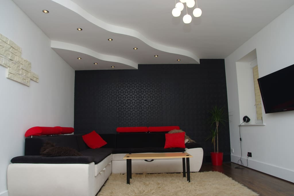 Living room/ Sleeping space two . This sofa turns into a spacious double bed
