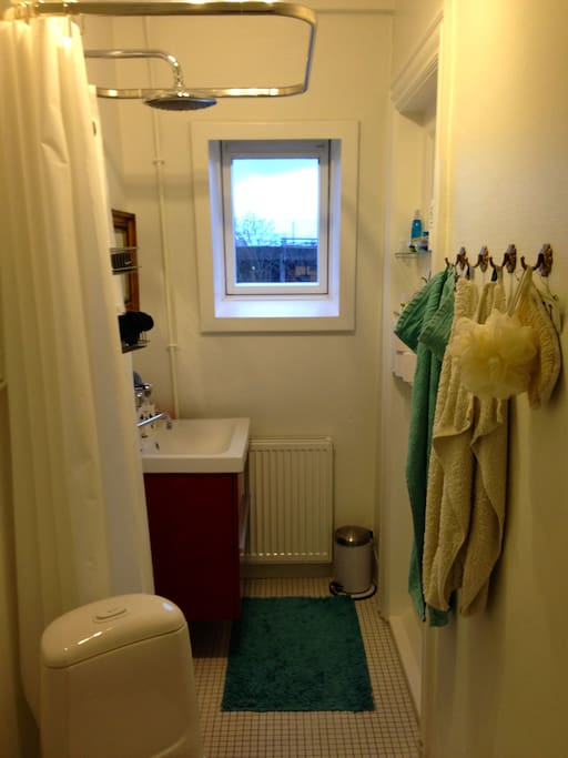 Rummeligt badeværelse med vindue