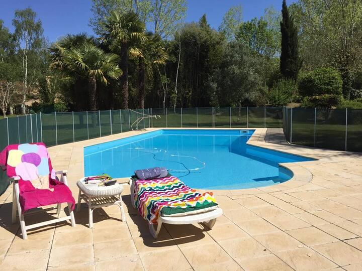 2-bed gite + pool, garden & mountain views!