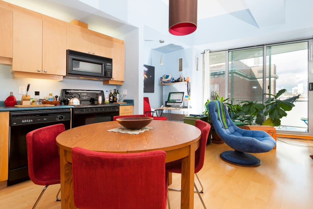 Open concept kitchen so you can prepare food while you listen to music