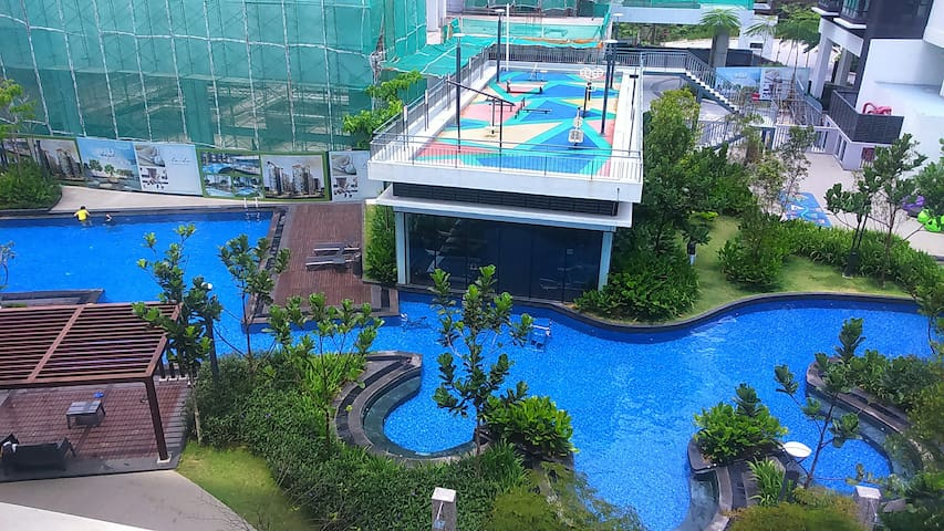 Balcony view - Pool, Outdoor Gym, Indoor Gym & Playground.