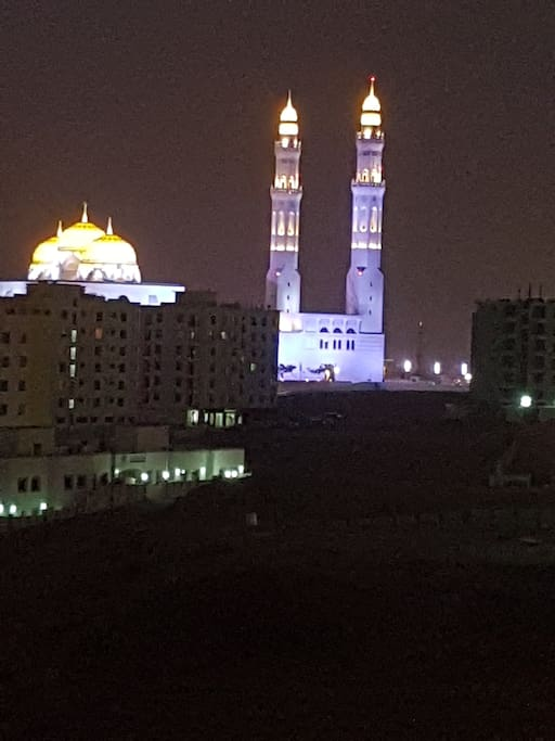 Mohammed Al Ameen Mosque at night from the balcony