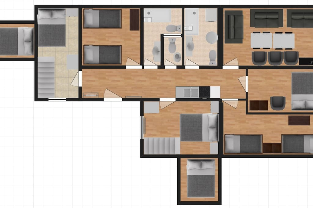 Layout of the 5 bedroom + Living Room apartment