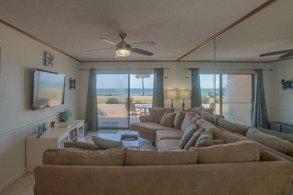 Massive living room space with views from everywhere!! And of course a huge smart tv!!