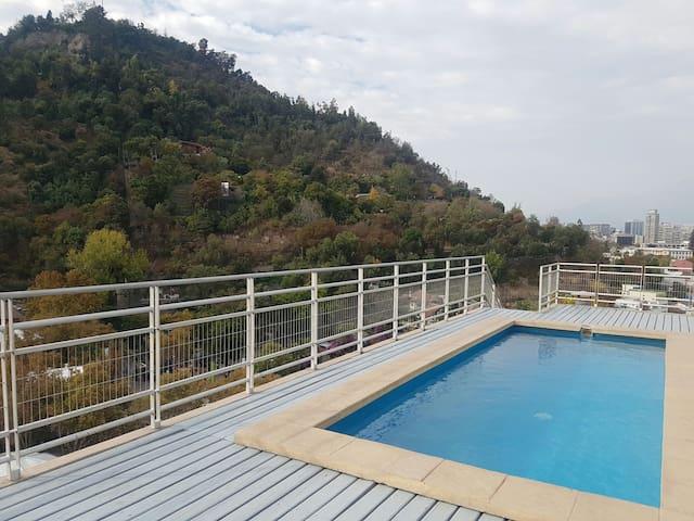Loft 2pisos+estacionamiento+piscina - Recoleta - Appartement