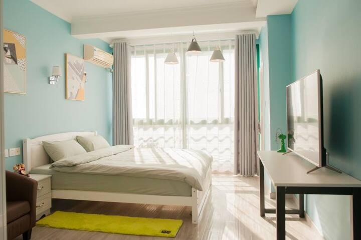 自由之丘天目湖景区全新清新简欧2房公寓带厨房