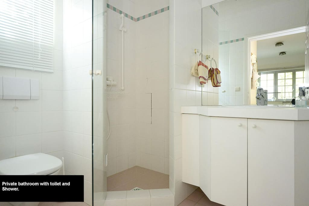 Your private bathroom with shower and toilet.