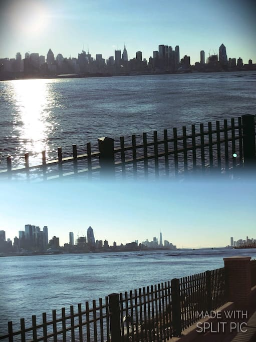 Hudson River view in the morning right outside the building.