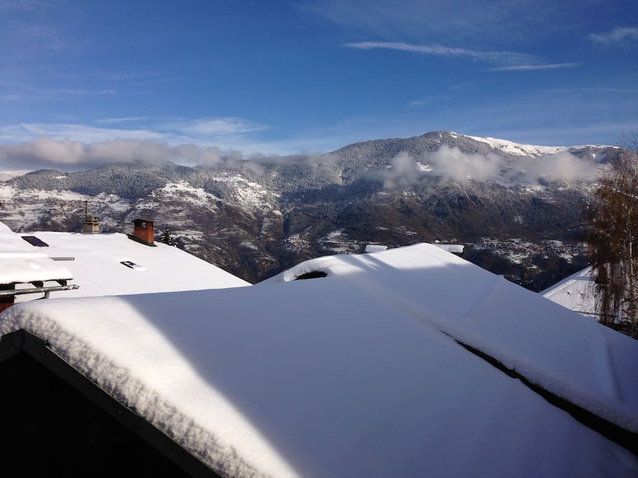 Beautiful view above all the roofs of the village