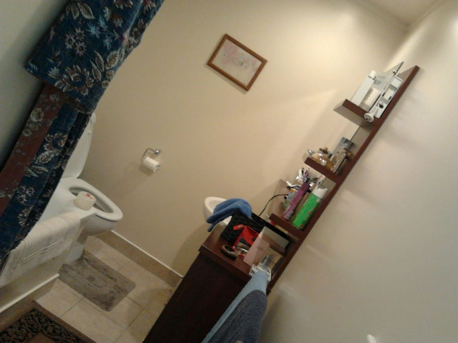 A shared shower, bath and toilet area.