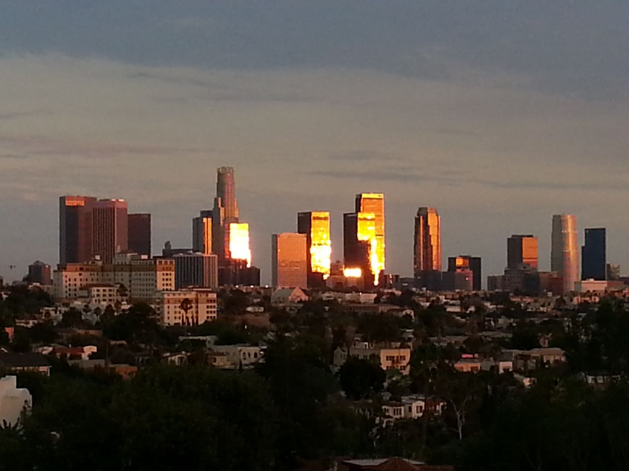 Sunset view off LA skyline from balconies