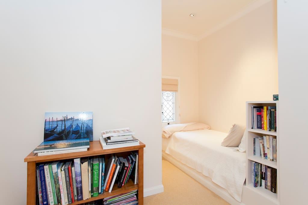 This s the quiet serene room with an alcove single bed, very comfortable and clean