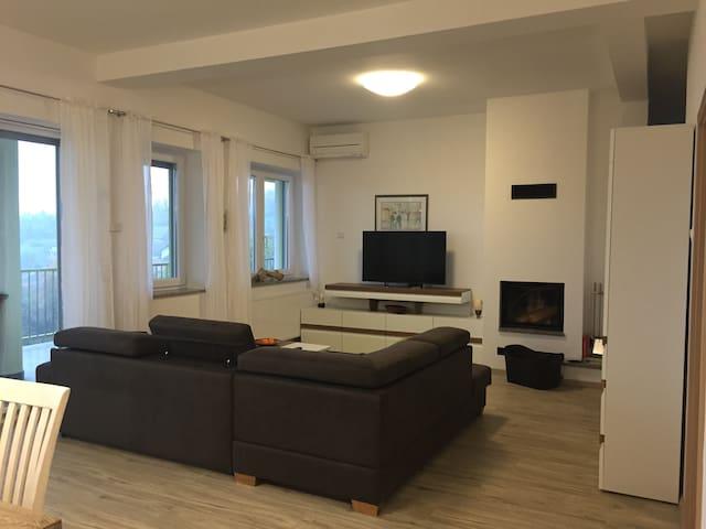 Exklusive Wohnung mit Kamin und großem Balkon