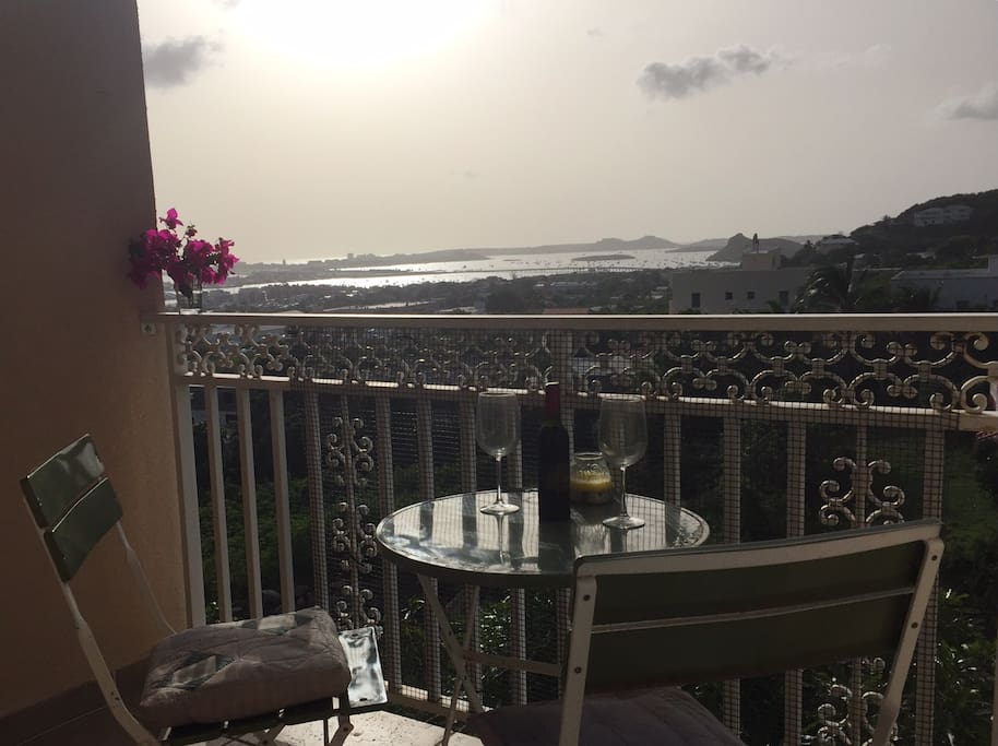 balcony overlooking the lagoon and Simpson Bay