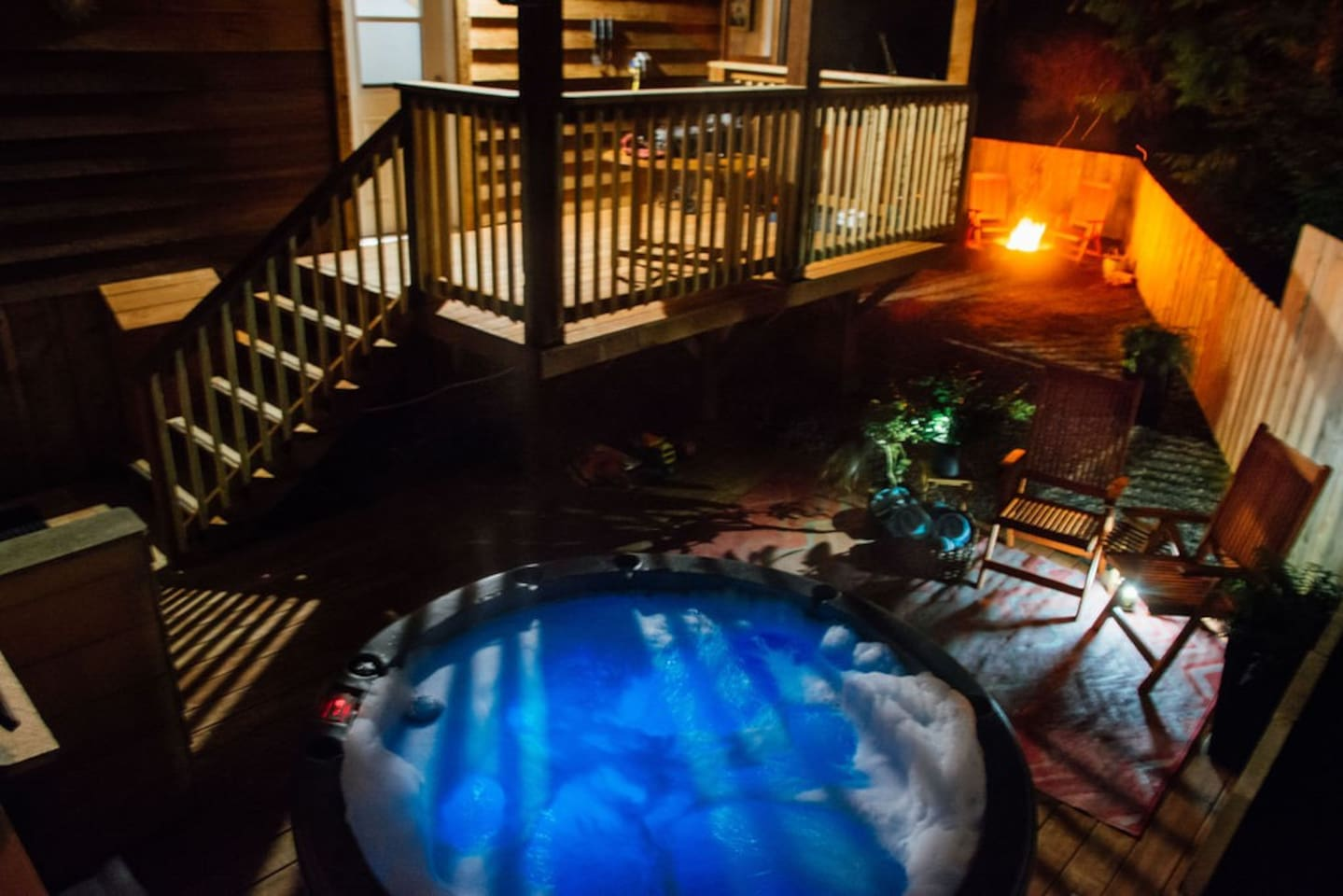 Secluded fully fenced yard with your own  private hot tub and fire pit. Covered deck with BBQ and outdoor eating area.   We are a legally permitted vacation rental. GST is included in our nightly rate.