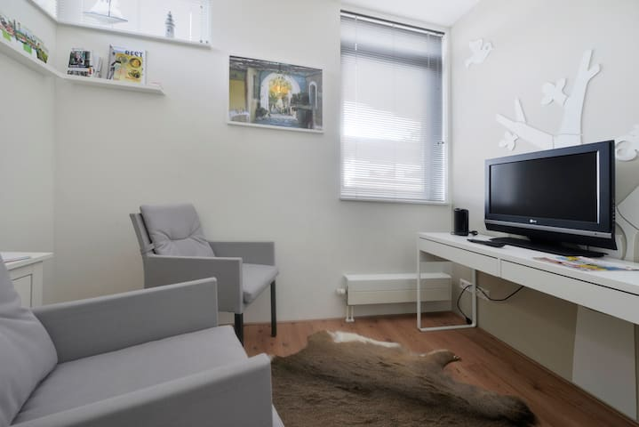 Aparte zitkamer, TV en koelkastje.