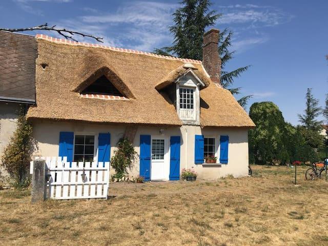 Chaumière avec le toit en chaume et  cheminée