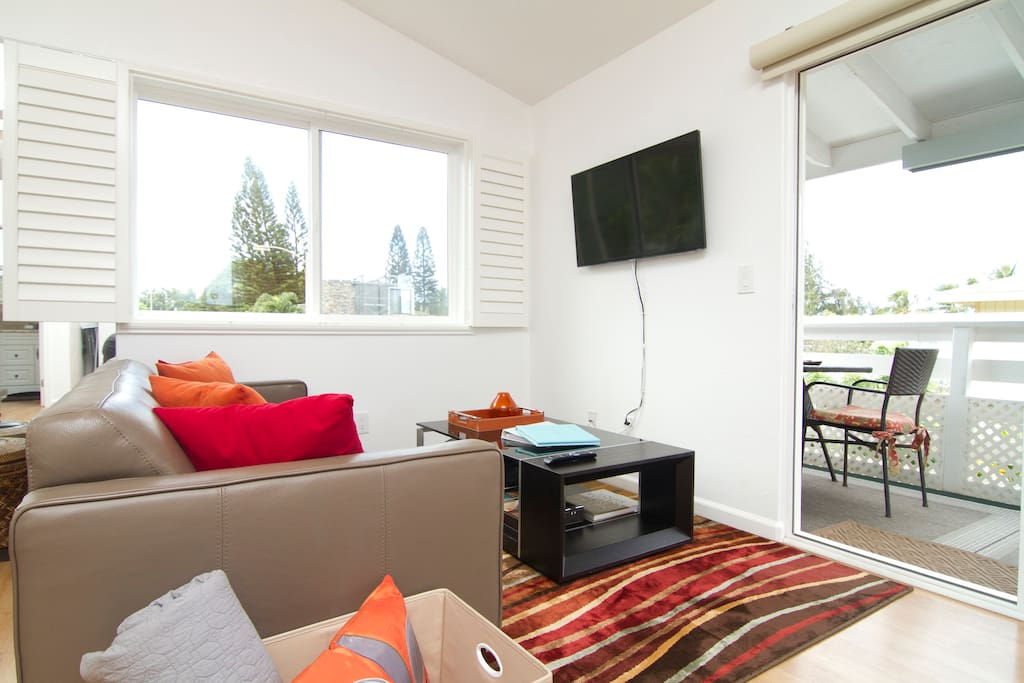 The Italian leather sofa and 42-inch 'smart' (internet-connected) TV epitomize how this is not your typical north shore shack.