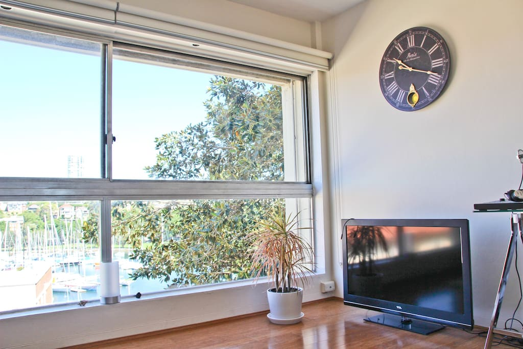 living-room with TV and view on Rushcutters Bay
