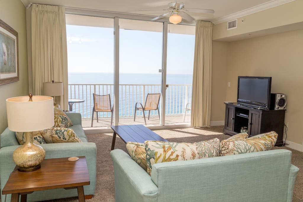 Beautiful Tidewater rental with amazing views of the gulf.  Living room is open to the kitchen and dining area