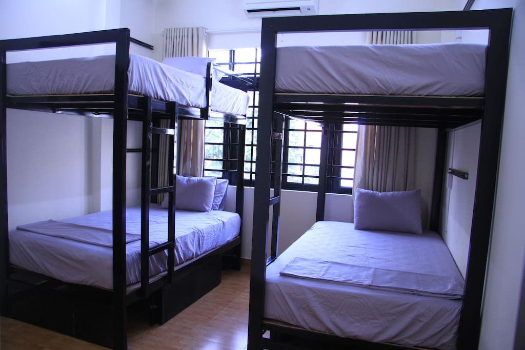 Bunk beds with comfortable mattress and pillow