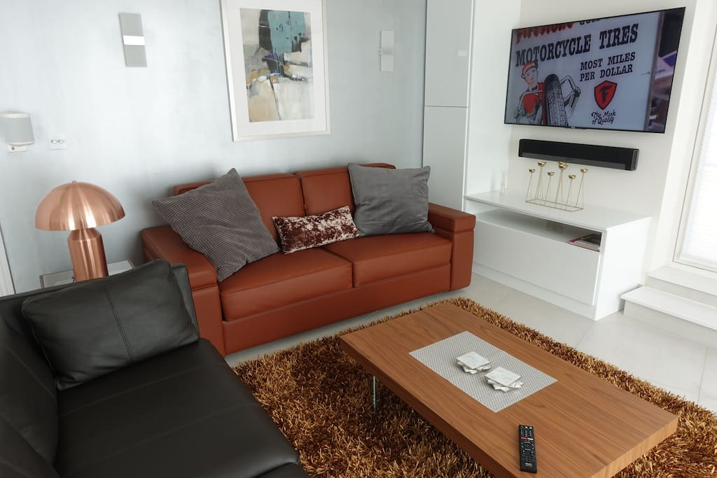 Living room with desinger side table lamp