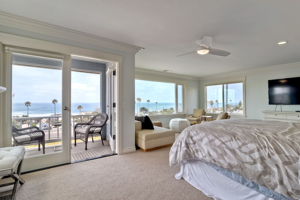 """Whitewater views from the Master Bedroom. 70"""" HiDef TV. Beautyrest Black CalKing Mattress."""