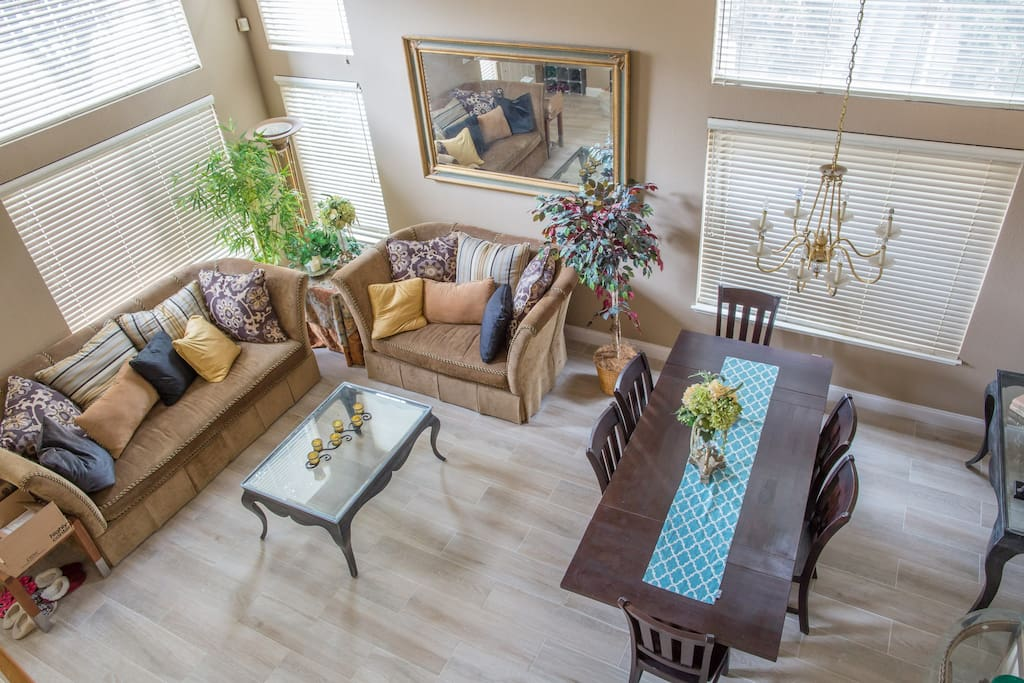 View from upstairs of the formal living & dinning room