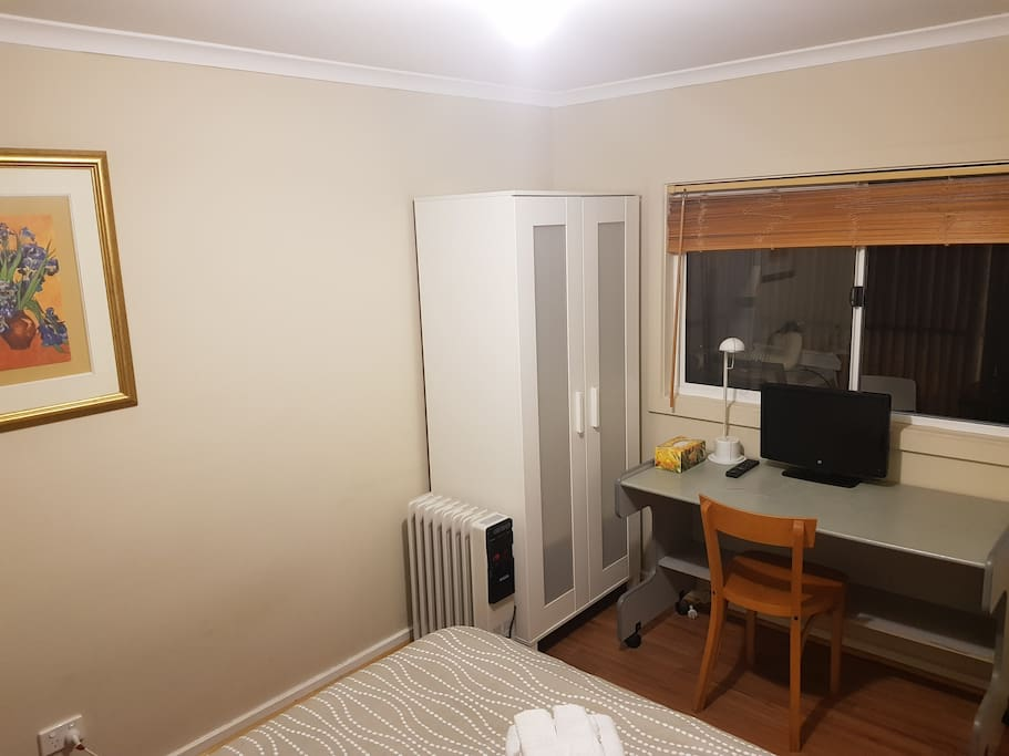 Desk, chair, tv, wardrobe, heater are all provided.