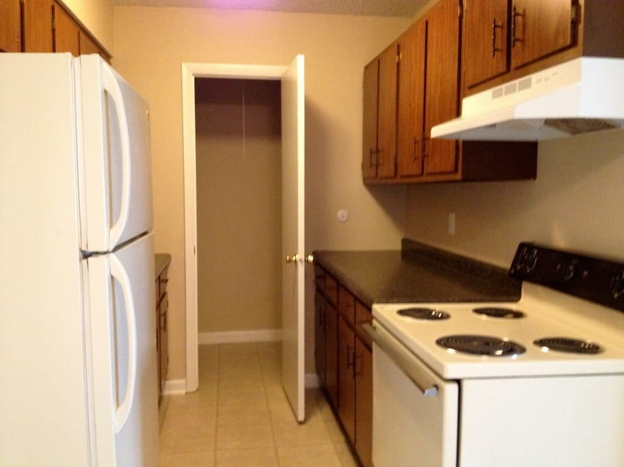 Kitchen area with pantry