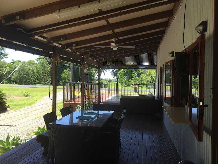 Side veranda with ocean views