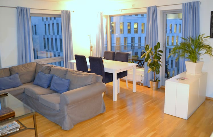 Living room with sofa (can be turned into a double bed) and expandable dining table for up to 6/ 8 people.