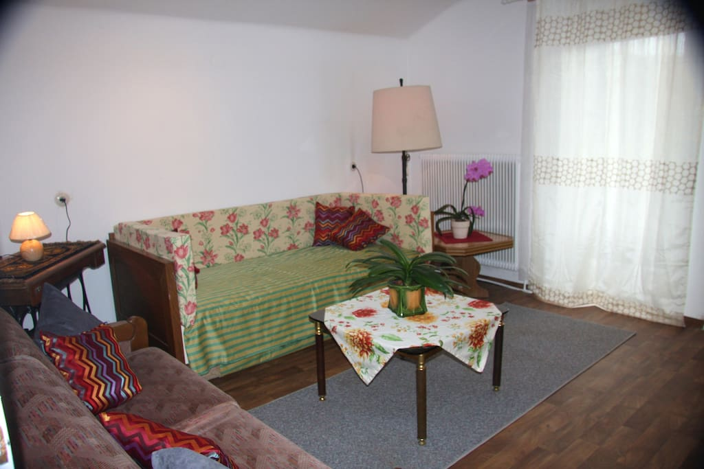 The living room has a comfy daybed to lounge on or use as a spare bed.