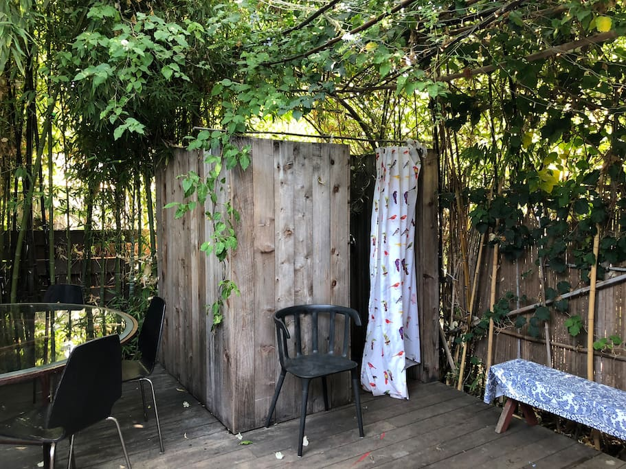 Private redwood outside shower