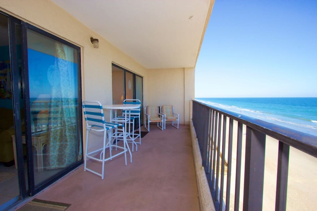Balcony access from the living room and master bedroom.