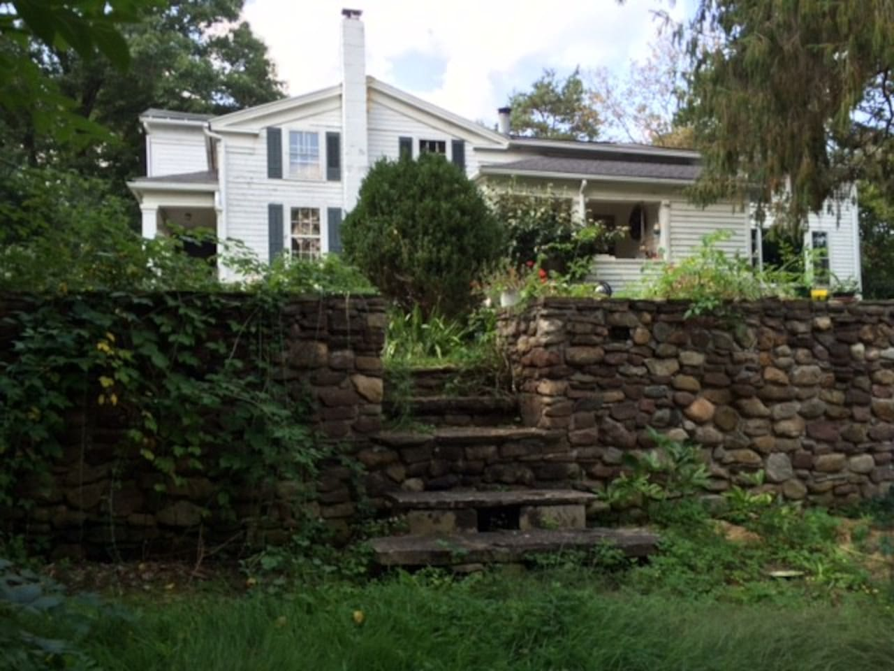 This is the east side of my home as seen from the lower terrace and garden area.