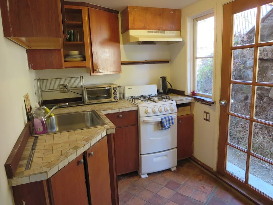 Full Kitchen with all amenities including electric kettle, fridge and toaster oven!
