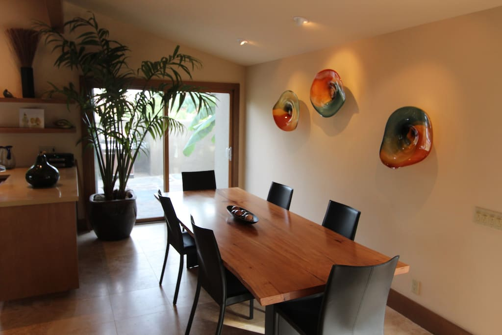 Lots of art in an open concept.