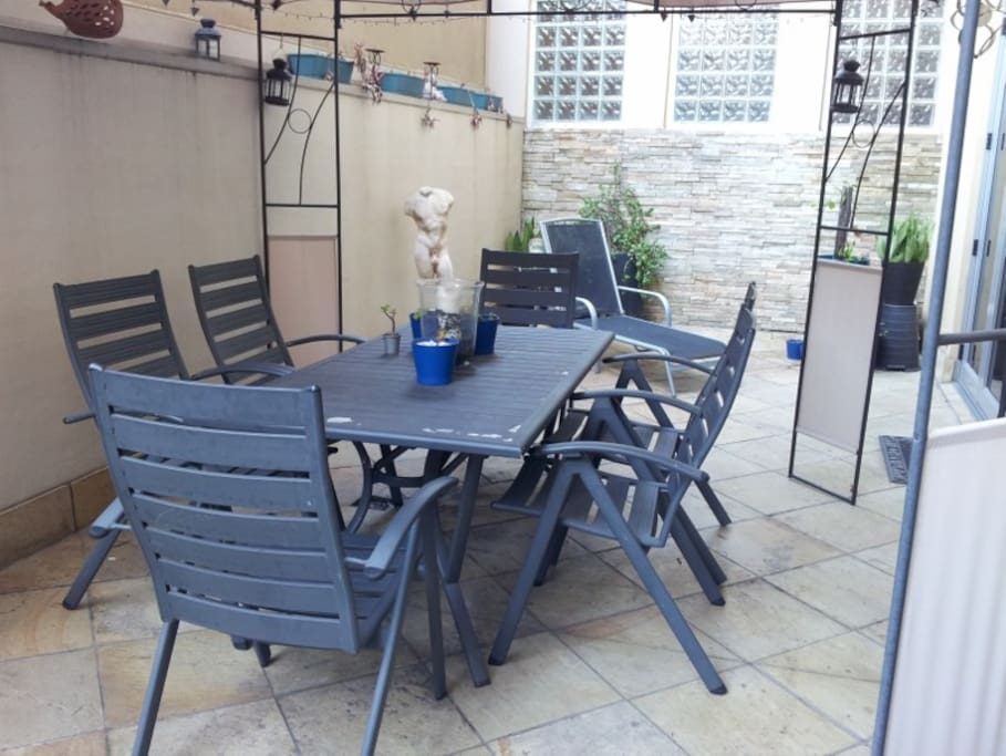 Large shared courtyard with barbecue