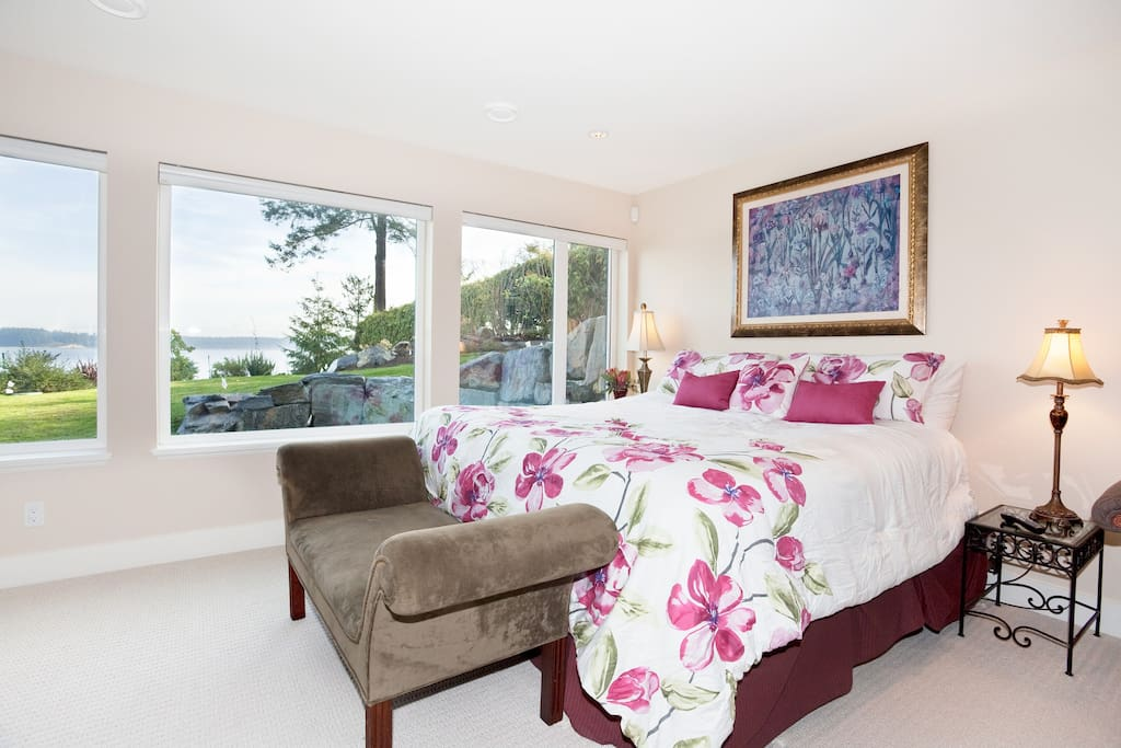 large bright waterfront bedroom