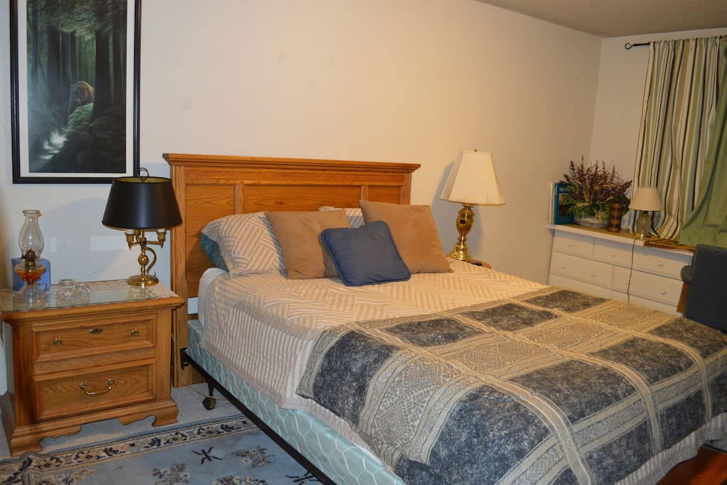 Guests private bedroom.   Comfy Queen bed