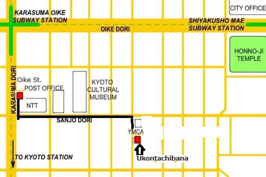 From subway Karasuma line Oike station to Ukontachibana apartment.