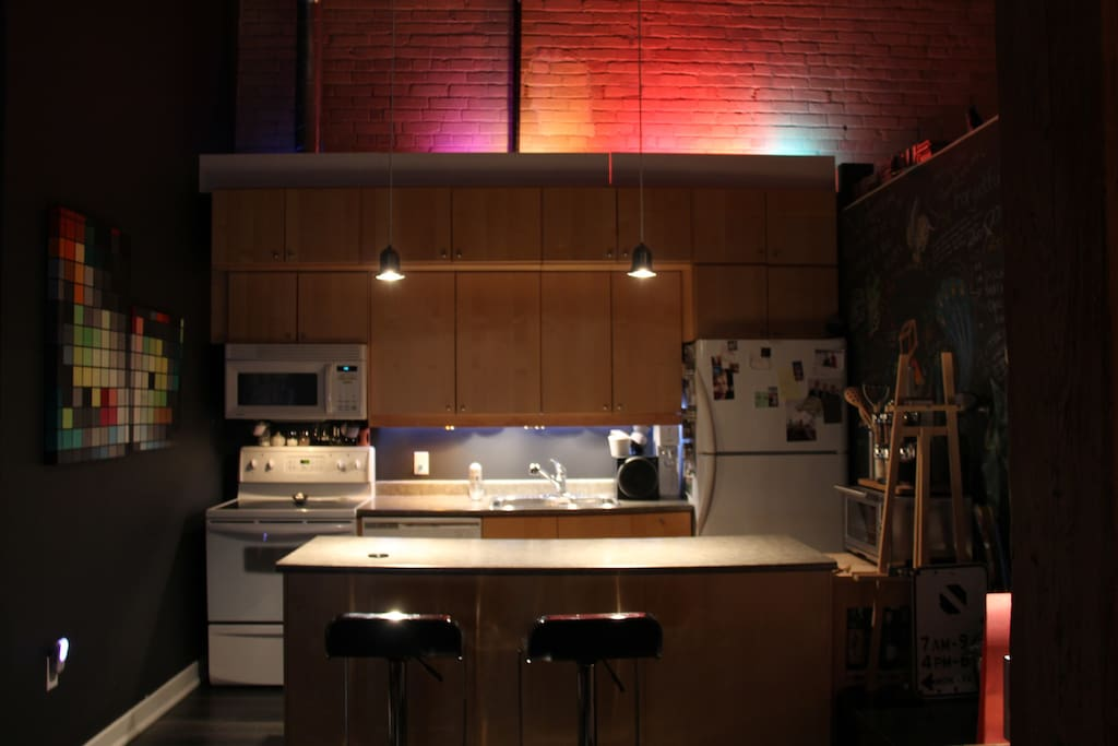 Kitchen at night. Red Lighting Theme