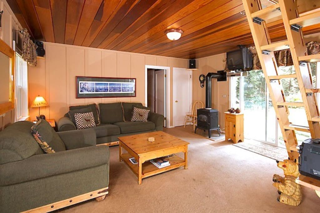 Living room with flatscreen TV, DVD and gas woodstove