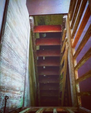 The loft's original closing door